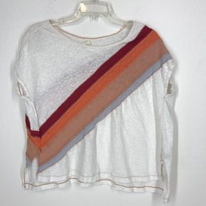 Free People striped white tee size XS
